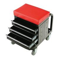 Pojízdná dílenská stolička s úložným prostorem (47x35x43cm / max. 135kg)