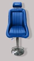 Barová stolička ve tvaru sportovního sedadla, umělá kůže, barva modrá
