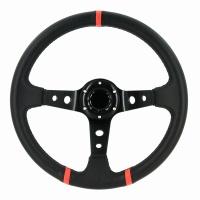 Sportovní volant Deep-dish průměr 350mm - černá umělá kůže, červené doplňky