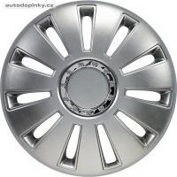 """Poklice na kola 17"""" model Silverstone (barva stříbrné/chromový kroužek) - 4 kusy"""