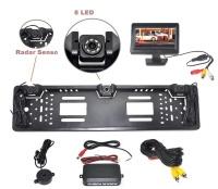 """Parkovací systém s kamerou a 2 senzory v SPZ, 4,3"""" monitor"""