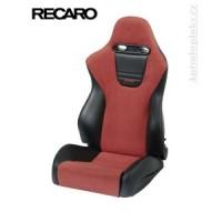 RECARO nastavitelné sedadlo model SPORT Trendline s průvleky na pásy (materiál černá koženka + červená Dinamica - vlákno podobné semiši)