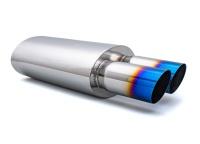 Univerzální koncový tlumič výfuku se dvěmi leštěnými koncovkami 76 mm v opáleném titanovém vzhledu, vstup 63 mm