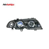 Přední světla (lampy) chromové s Angel Eyes BMW 3 E46 4dv. -- rok výroby 98-2001
