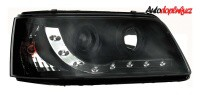 Přední světla (lampy) černé + DRL světla (lampy) pro denní svícení VW T5 -- od roku výroby 2003-