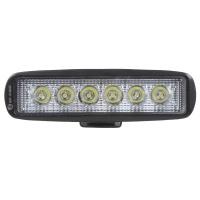 LED světlo 10-30V, 6x3W, R10, rozptýlený paprsek, 160x46x53mm